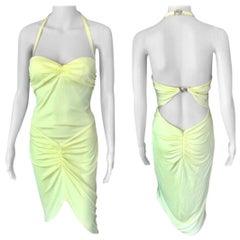 Versace S/S 2005 Runway Medusa Halter Bustier Open Back Yellow Dress