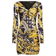 VERSACE SAVAGE BAROCCO PRINT KNIT DRESS In Yellow 40 - 4
