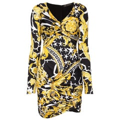 Versace Savage Barocco Print Long Sleeve Ruched Mini Cocktail Dress Size 40