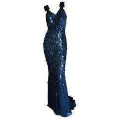 Versace Sequin and Bead Embellished Vintage Black Evening Dress