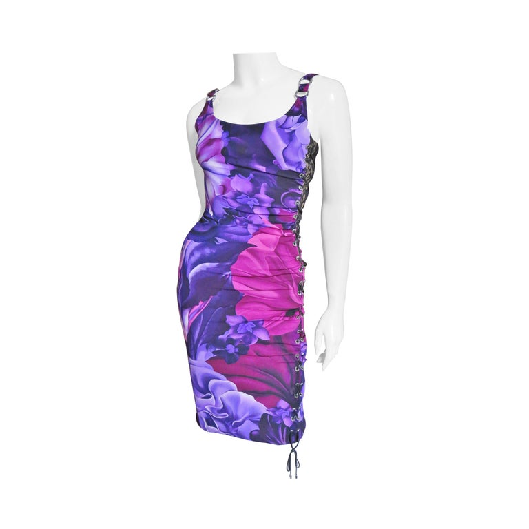 Versace Side Lace up Silk Dress For Sale