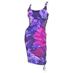 Versace Side Lace up Silk Dress