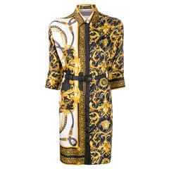 Versace Signature Barocco Silk Fitted Button Down Shirt Dress with Belt Size 38