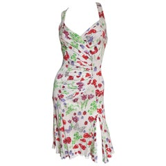 Versace Silk Backless Butterflies and Flowers Silk Dress