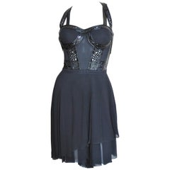 Versace Silk Bustier Dress with Patent Leather Trim