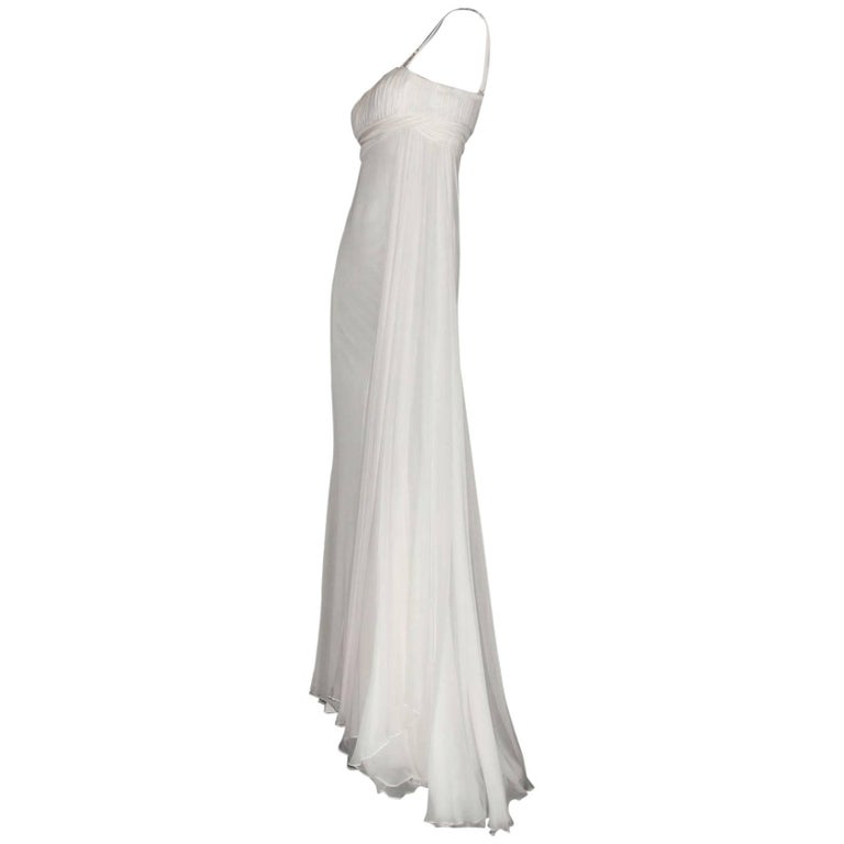 Incredible Versace Grecian Goddess Silk Evening Gown      Gorgeous off-white evening gown inspired by the Grecian goddesses by Versace     Beautiful decorated shoulder straps with golden Swarovski crystal Grecian Meander pattern - so Versace!