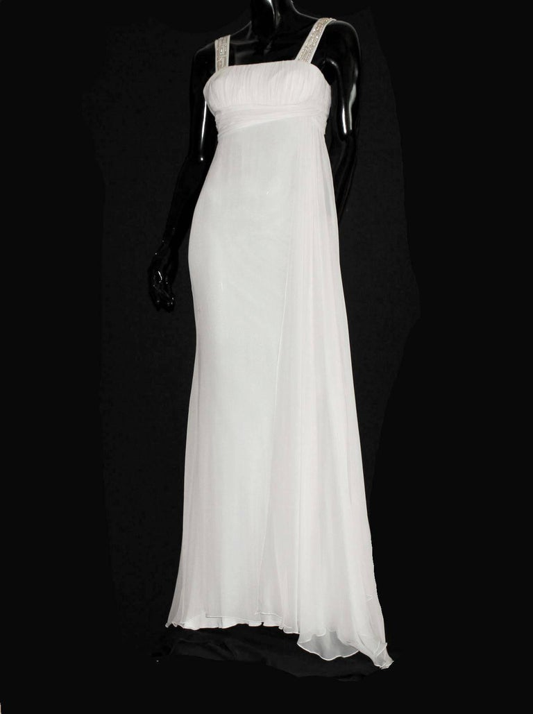 Versace Silk Chiffon Crystal Grecian Meander Evening Gown Wedding Bridal Dress In Excellent Condition For Sale In Switzerland, CH