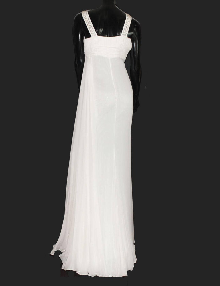 Versace Silk Chiffon Crystal Grecian Meander Evening Gown Wedding Bridal Dress For Sale 1