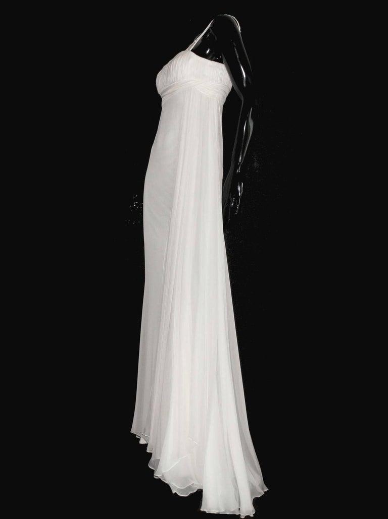 Versace Silk Chiffon Crystal Grecian Meander Evening Gown Wedding Bridal Dress For Sale 2