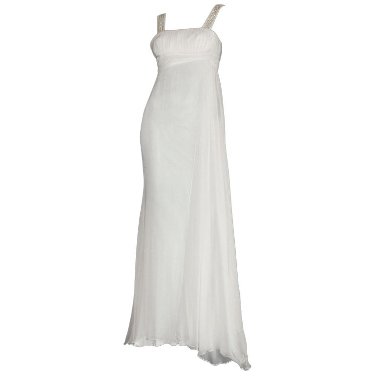 Versace Silk Chiffon Crystal Grecian Meander Evening Gown Wedding Bridal Dress For Sale