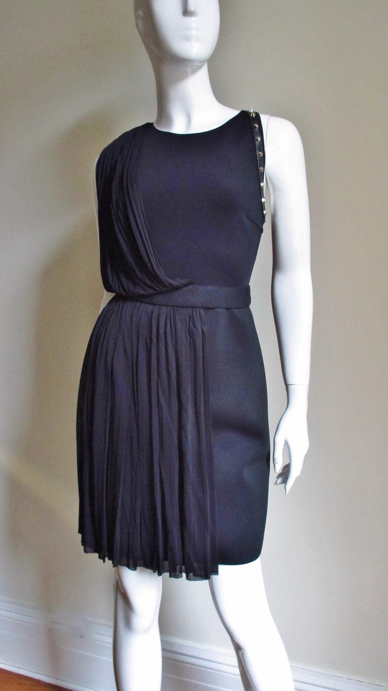 Versace Silk Draped Dress with Leather and Studs Trim For Sale 1