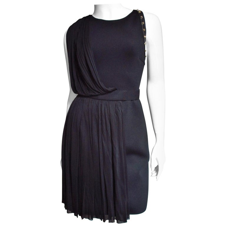 Versace Silk Draped Dress with Leather and Studs Trim For Sale