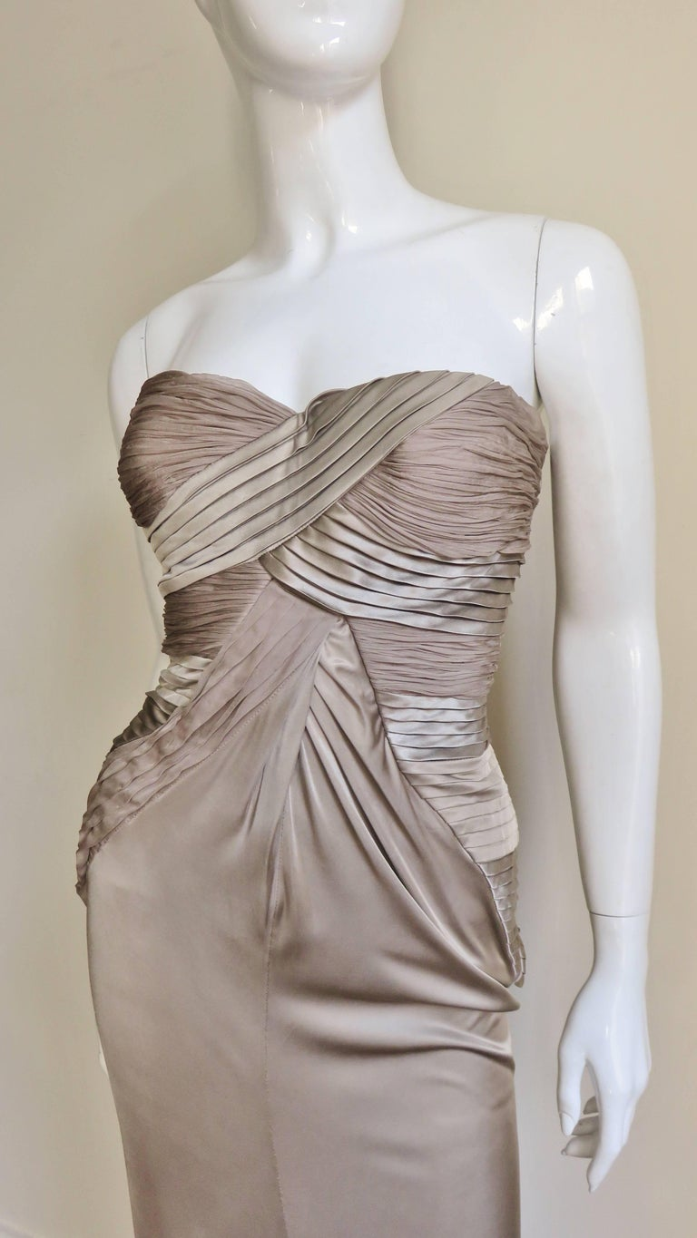 Gray Versace Silk Geometric Strapless Gown For Sale