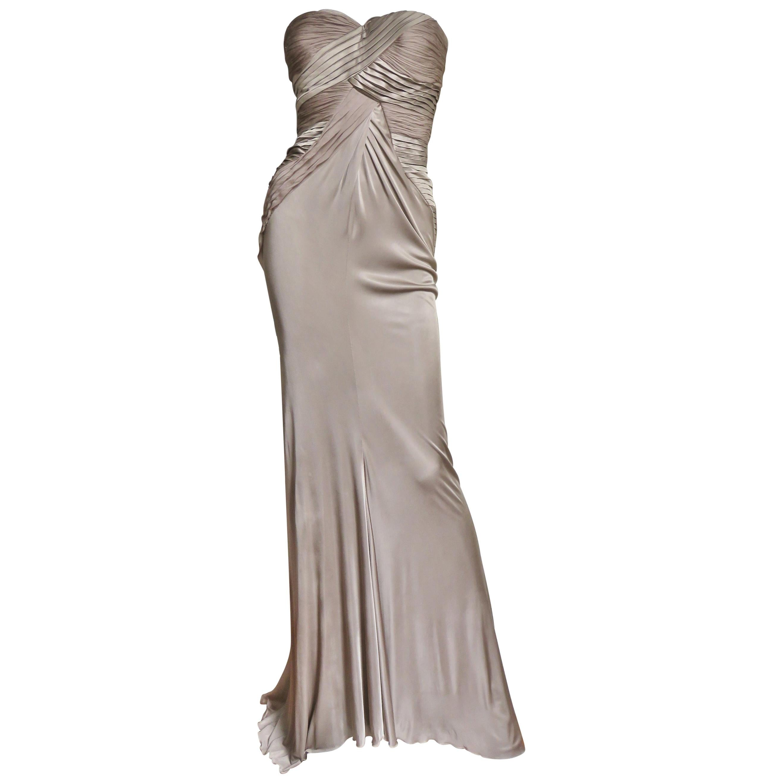 Versace Silk Geometric Strapless Gown