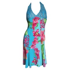 Versace Silk Halter with Embroidery