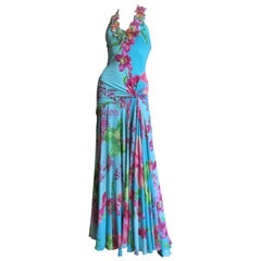 Versace Silk Maxi Dress with Elaborate Embroidery