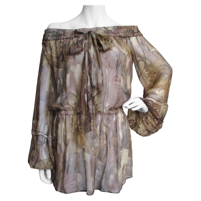 Versace Silk Print Off Shoulder Dress Top