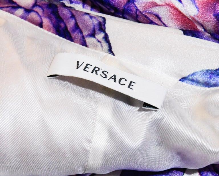 Versace Silk White & Purple Floral Print Cocktail Wrap Top Dress For Sale 1