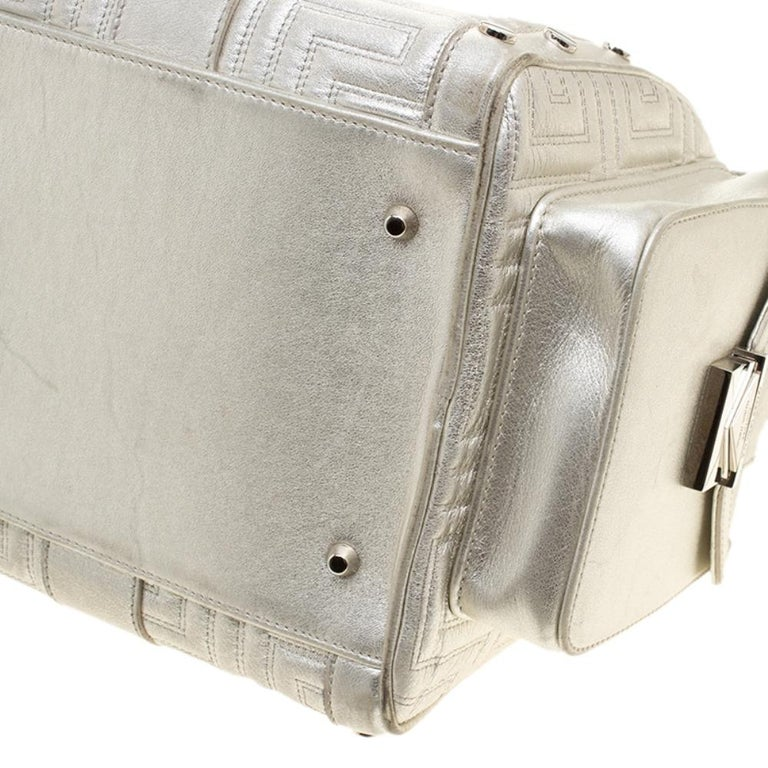 Versace Silver Quilted Patent Leather Snap Out Of It Satchel For Sale 6