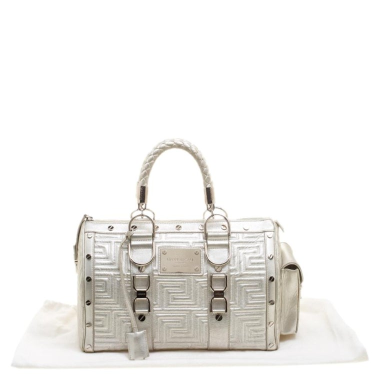 Versace Silver Quilted Patent Leather Snap Out Of It Satchel For Sale 7