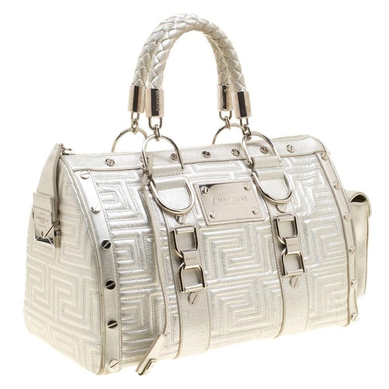 Women's Versace Silver Quilted Patent Leather Snap Out Of It Satchel For Sale
