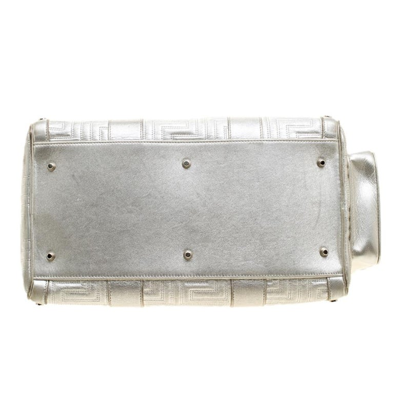 Versace Silver Quilted Patent Leather Snap Out Of It Satchel For Sale 1