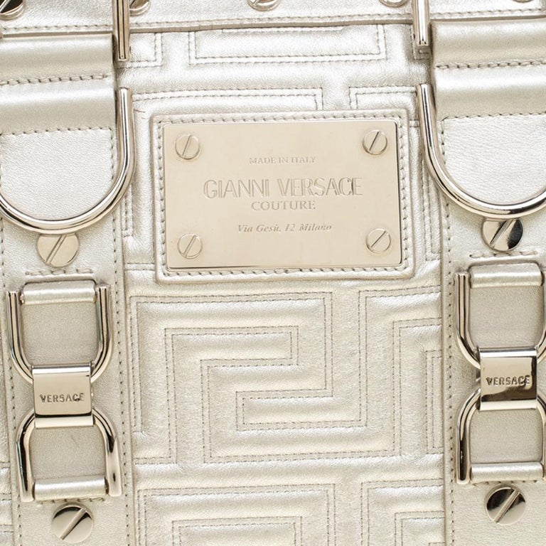 Versace Silver Quilted Patent Leather Snap Out Of It Satchel For Sale 2