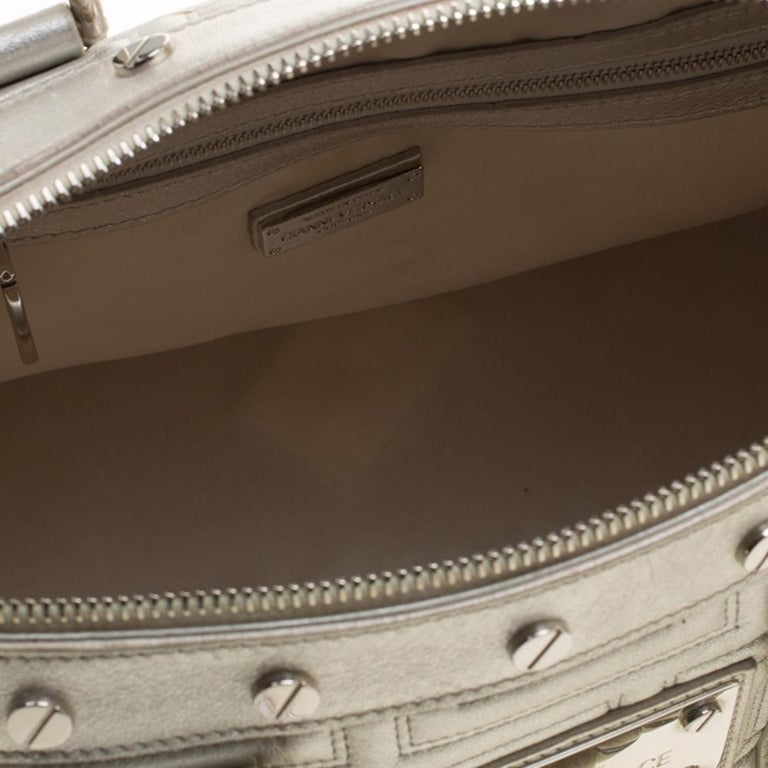 Versace Silver Quilted Patent Leather Snap Out Of It Satchel For Sale 3