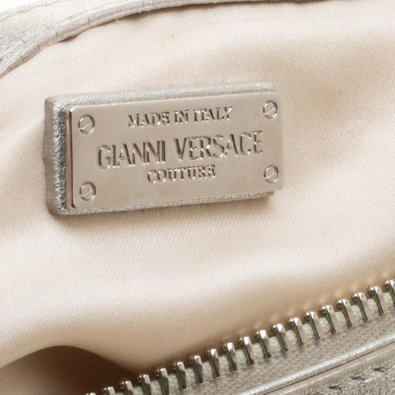 Versace Silver Quilted Patent Leather Snap Out Of It Satchel For Sale 4