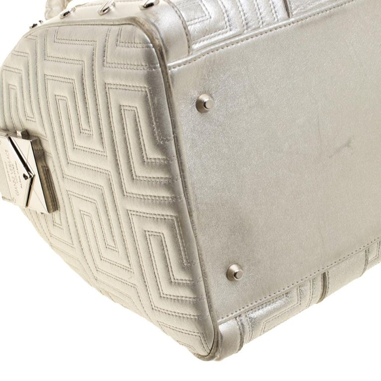 Versace Silver Quilted Patent Leather Snap Out Of It Satchel For Sale 5