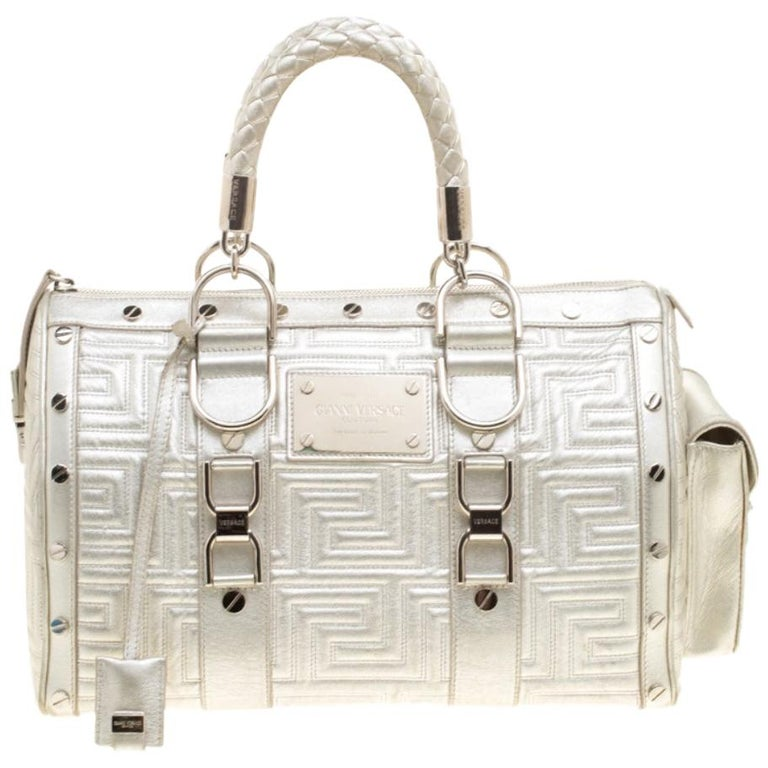 Versace Silver Quilted Patent Leather Snap Out Of It Satchel For Sale