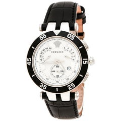 Versace SIlver White Stainless Steel V Race 23C Women's Wristwatch 42 mm