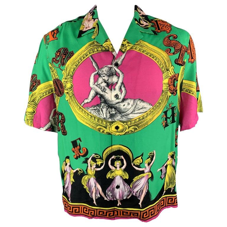 VERSACE Size L Multi-Color Print Viscose Button Up Short Sleeve Shirt For Sale