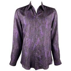 VERSACE Size L Purple & Black Print Silk Button Up Long Sleeve Shirt