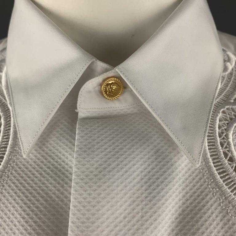 Men's VERSACE Size L White Baroque Cutout Bib Textured Cotton Dress Shirt For Sale