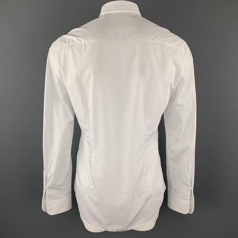 VERSACE Size L White Baroque Cutout Bib Textured Cotton Dress Shirt For Sale 1