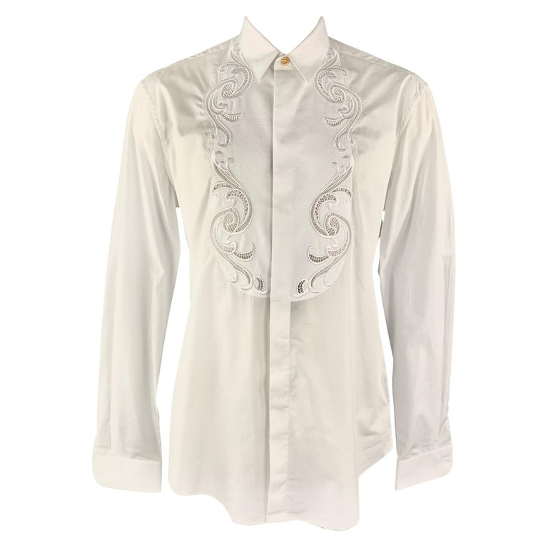 VERSACE Size L White Baroque Cutout Bib Textured Cotton Dress Shirt For Sale