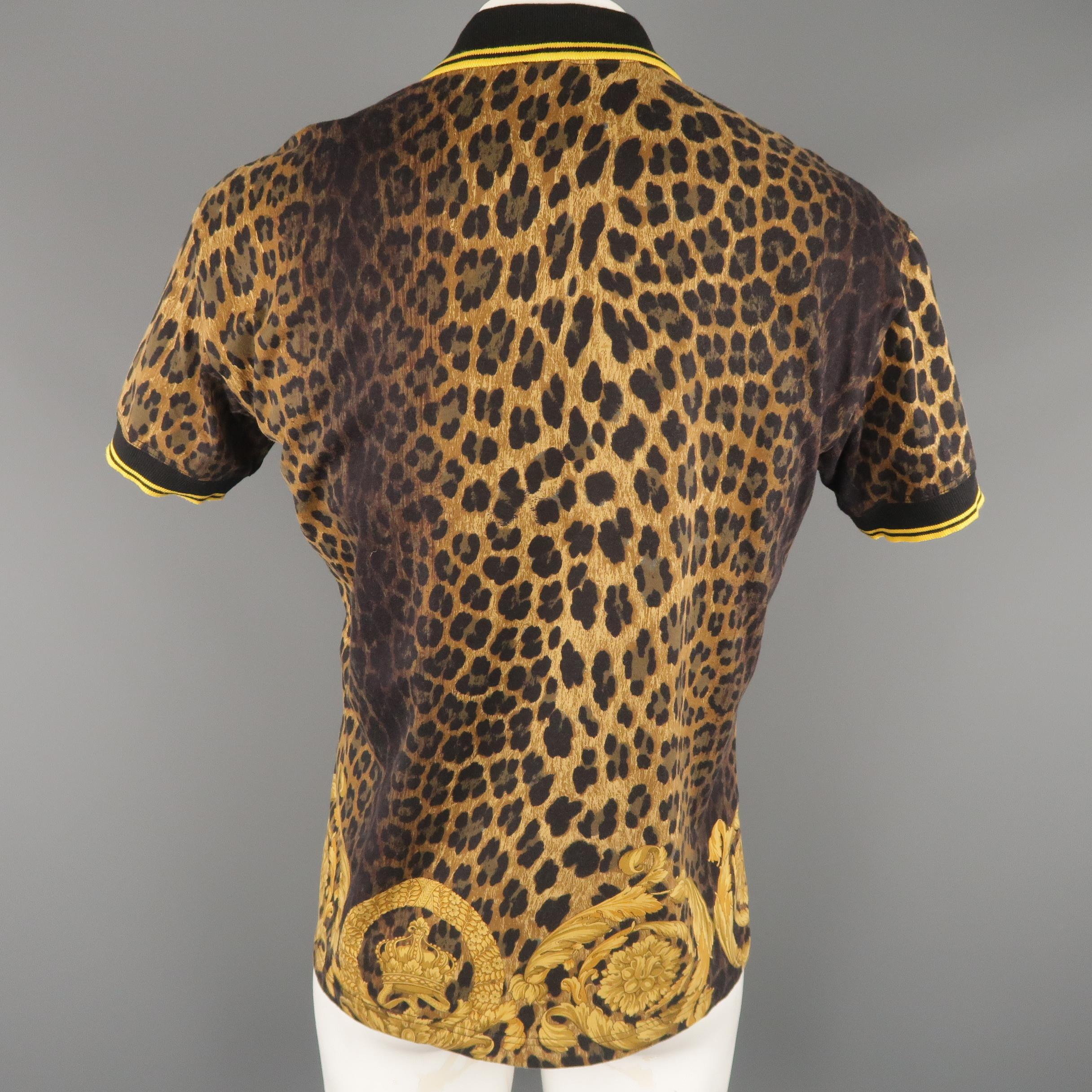 c6fc93c0 VERSACE Size XL Brown and Gold Baroque Animal Print Yellow Stripe POLO at  1stdibs