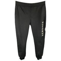 VERSACE Size XXL Black Medusa Head Cotton Sweatpants