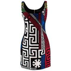 Versace Sleeveless Logo Print Ribbed Mini Dress 40