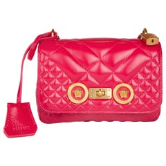 Versace Small Fuchsia Pink Quilted Leather Icon Shoulder Bag