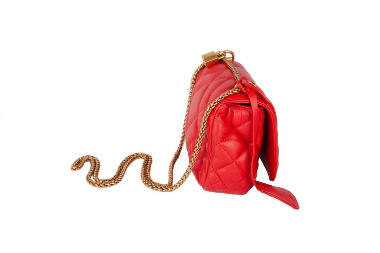Women's Versace Small Red Quilted Leather Icon Shoulder Bag with Gold Tone Chain For Sale