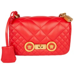 Versace Small Red Quilted Leather Icon Shoulder Bag with Gold Tone Chain
