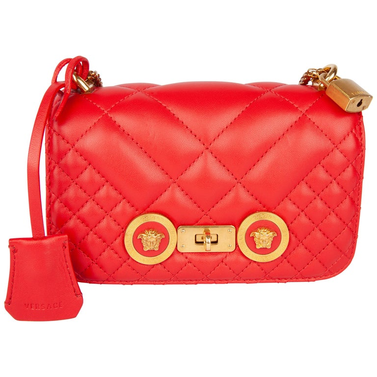 Versace Small Red Quilted Leather Icon Shoulder Bag with Gold Tone Chain For Sale