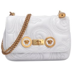 Versace Small White Embroidered Icon Shoulder Bag with Gold Tone Chain