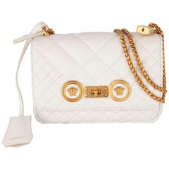 Versace Small White Quilted Leather Icon Shoulder Bag W/ Gold Tone Metal Chain