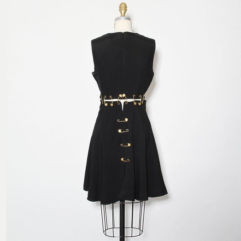 Black Versace Spring 1994 Safety Pin Mini Dress For Sale
