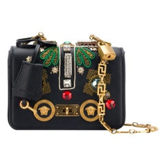 Versace Spring 2018 Runway Small Tribute Embellished Leather Icon Shoulder Bag