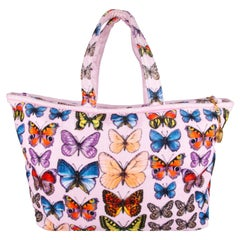 Versace Spring 2018 Runway Tribute Collection Butterfly Print Terry Cloth Tote