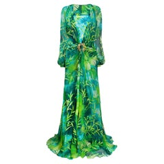 Versace Spring 2020 Green & Blue Jungle Print Floor-Length Silk Dress Size 38